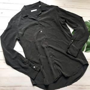 Equipment Button down in charcoal gray